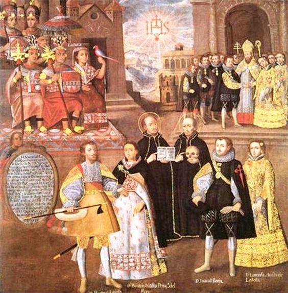 Enlace de las Princesas hijas del Gran Inca, con  miembros de la Casa de Loyola. Pintura Escuela  Cuzqueña.