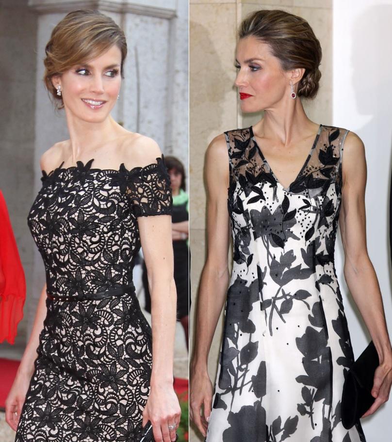 A la izquierda Letizia luciendo un Felipe Varela y a la derecha vestida de un Carolina Herrera.
