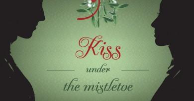 free-kiss-under-christmas-mistletoe-vector-background