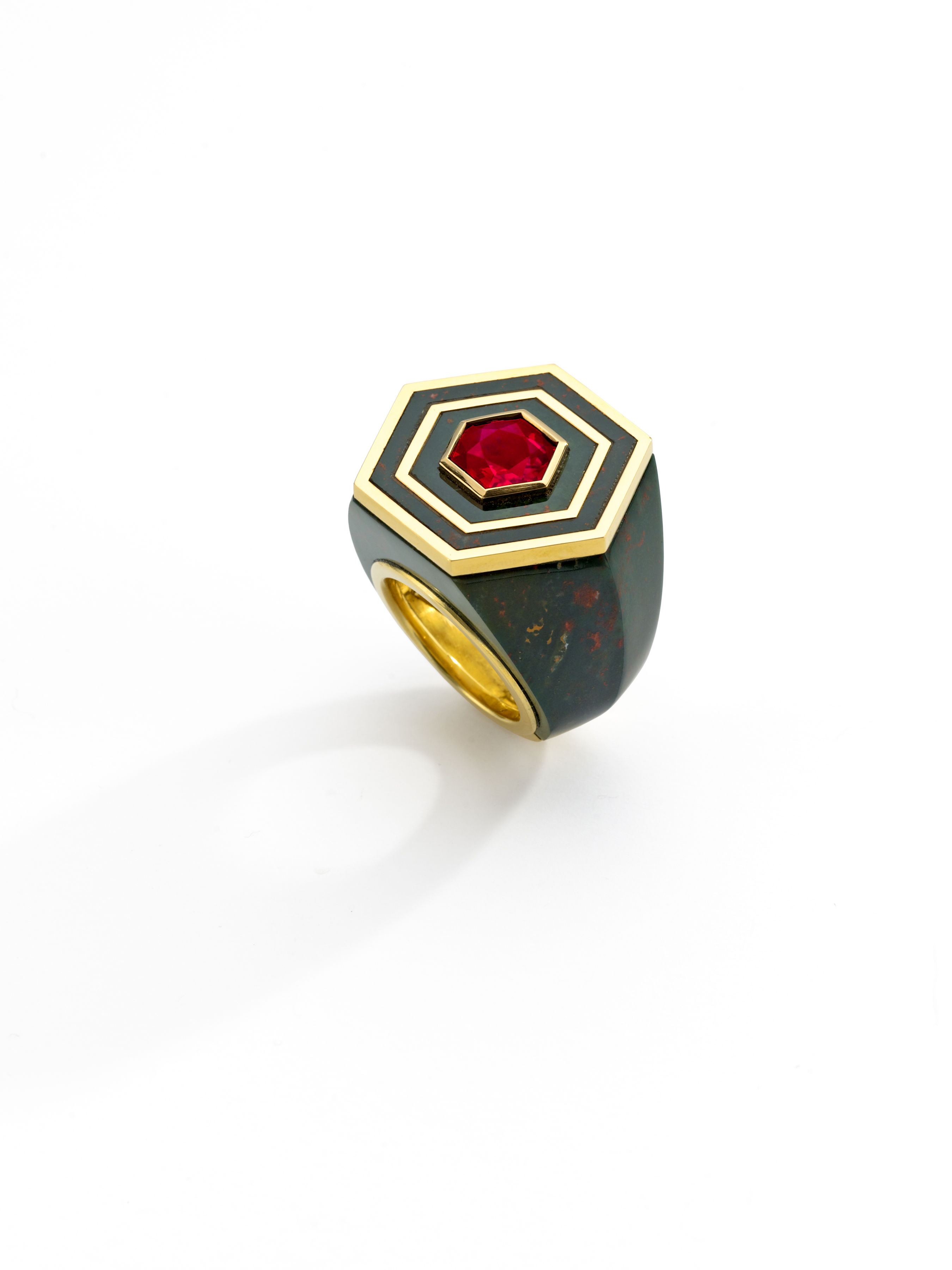 Ring_Hexagonal Rudy and Bloodstone Ring