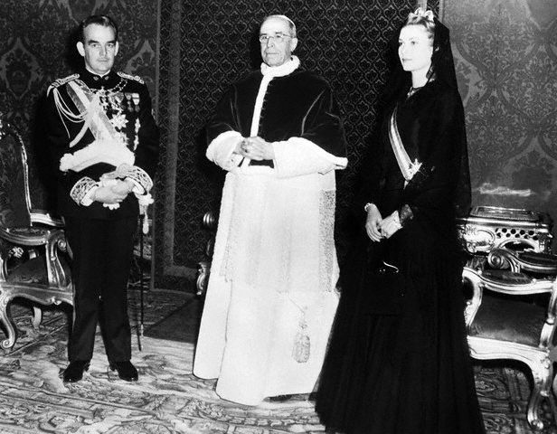 Pope Pius XII, Prince Rainier, and Princess Grace