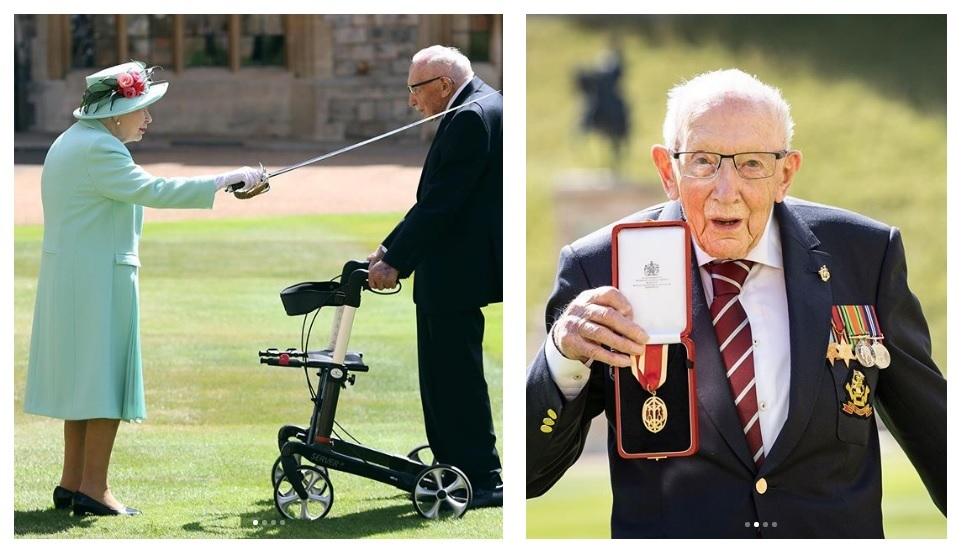 Elizabeth II nombró Caballero a Sir Thomas Moore, quien recaudó millones para los trabajadores de la salud