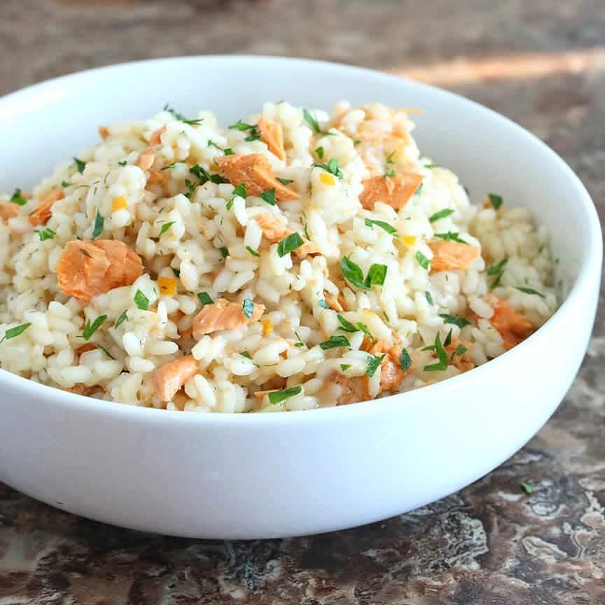 Un espectacular y muy fácil risotto de salmón